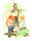 Watercolour of scarecrow with children gardening nearby