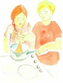 Watercolour of children cooking
