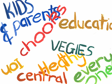 Painted text: Kids and Parents, chooks, education, vegies, heatlhy, central, everyone