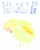 Watercolour of word HEALTH with a chicken below